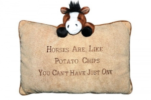 "Poduszka pluszowa HKM ""Horses are like potatochips"""