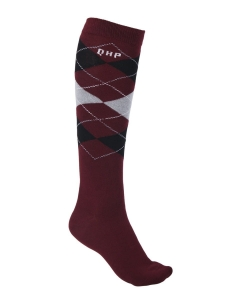 "Skarpety QHP ""Check"" AW2020 wine red 24h"