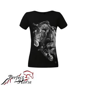 "T-shirt damski Perfect Horse ""Impression Jump Black"""